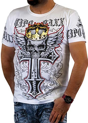 Cipo Baxx Herren T Shirt T-Shirt Kurzarm Kurzarmshirt Rundhals Tshirt Applikation Aufdruck Print Motiv Totenkopf Kreuz CT555 (M, Weiß)