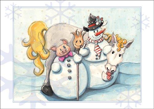 Kartenkaufrausch Grappige kerstkaart met sneeuwman, varkentje en paard in de sneeuw • ook direct verzending met hun tekst inlegger • als wenskaart, cadeau voor Kerstmis, Nieuwjaar
