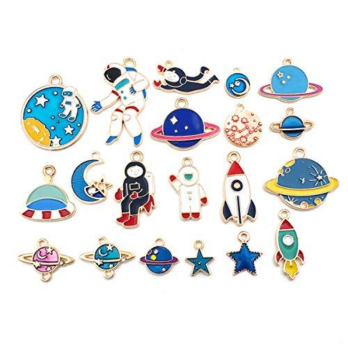 20 Stück gemischte Stile Charms Anhänger Weltraum Astronaut Rakete Planet Jupiter Raumschiff verschiedene Emaille-Farben Charms für Halsketten Armbänder Schmuckherstellung und Basteln