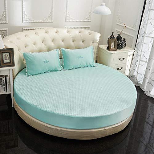 HPPSLT Protector de colchón Acolchado - Microfibra - Transpirable Sábana Acolchada Redonda Engrosamiento-Azul Agua-Quilted_2m