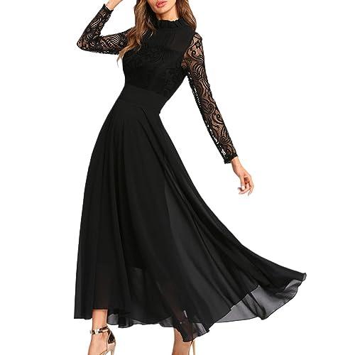 7aca314ba82 Aofur Plus Size Women s Chiffon Lace Long Prom Cocktail Ladies Maxi Evening  Party Swing Dress