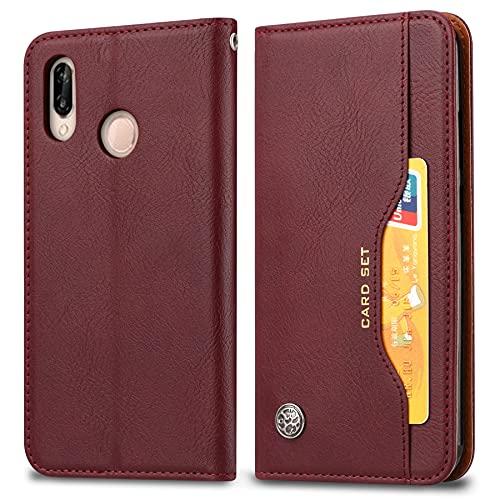 SZCINSEN Funda de piel tipo cartera para Huawei Y7 2019 Funda de piel con ranura para tarjeta Kickstand a prueba de golpes suave carcasa interior TPU (color vino: vino tinto)