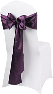 LOVWY Pack of 50 Satin Chair Sashes 17 x 275 cm (Appro 6.7 108 Inches) for Wedding Party Engagement Event Birthday Graduation Banquet Decoration (Colors Optional) (Satin 50 PCS, Eggplant)