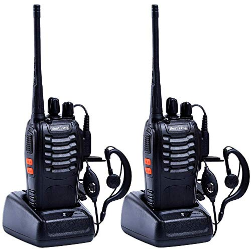 2PCS Nestling 888S USB Rechargeable Walkie Talkies Long Range Two-Way Radio 16CH Walky Talky with Earpieces and LED Light Voice Prompt for Field Survival Biking and Hiking