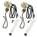 Fan Light Switch ZE-109 ON-OFF Pull Chain Switch Second Generation Two-wire Light Switch With Pull cords,Compatible with most Hunter Ceiling Fan With Light (Bronze) 2 PACK