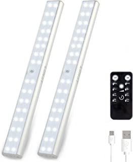 LUNSY Rechargeable Under Cabinet Lighting 32LED, Wireless Closet Light with Remote, Stick-on Anywhere Portable Magnetic Li...
