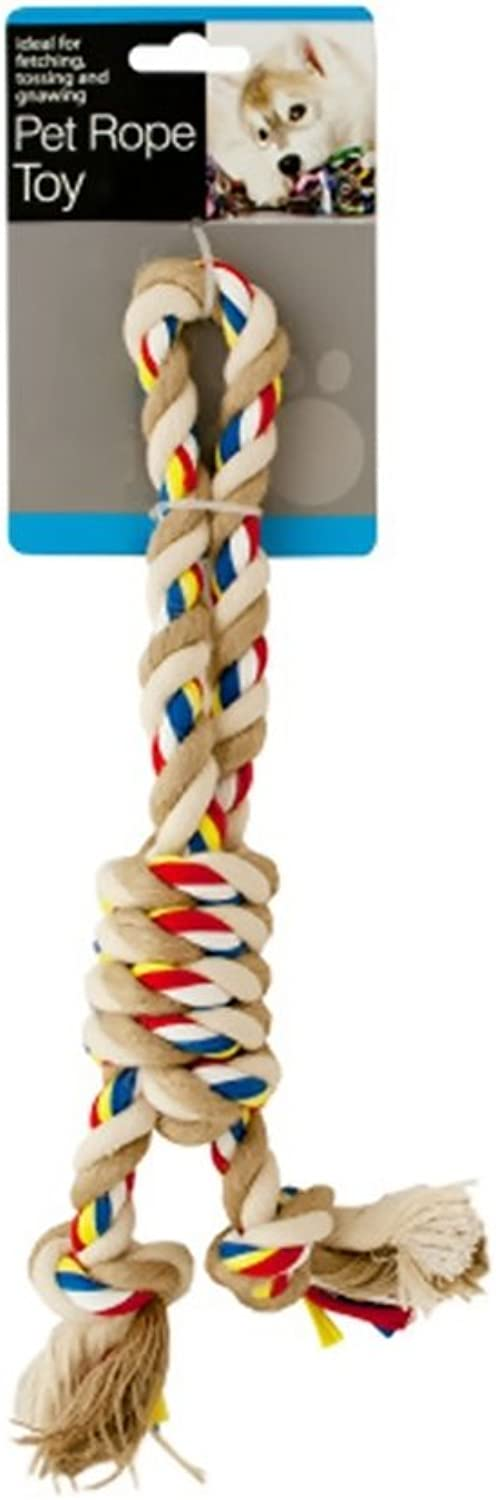 Bulk Buys colorful Knotted Pet Rope Toy With Handle  Pack of 12
