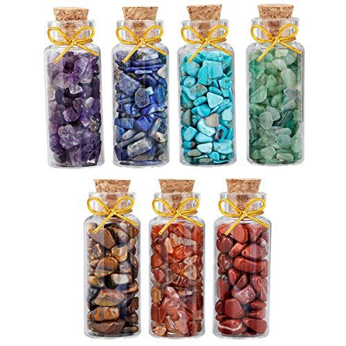 mookaitedecor 7pcs Mini Glass Wishing Bottles Tumbled Gemstone Crystal Chips Healing Reiki Stones Set