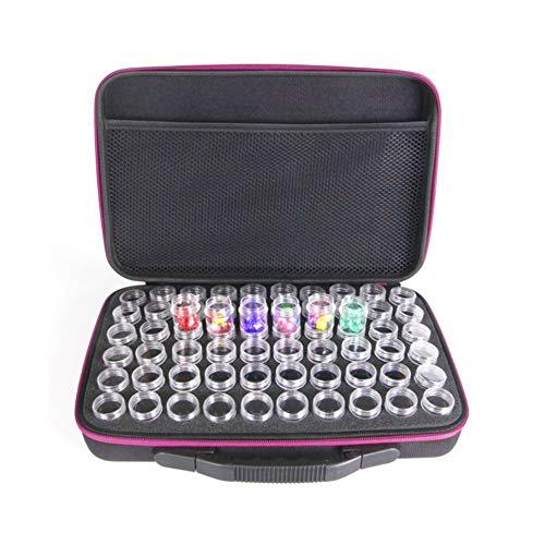 XHXseller Kit de almacenamiento de pintura con diamantes, caja de accesorios de pintura, bolsa de mano, diseño de cremallera, con 60 piezas pequeñas de plástico transparente con tapa de almacenamiento con una gran caja de almacenamiento, No nulo, rojo rosado, Tamaño libre