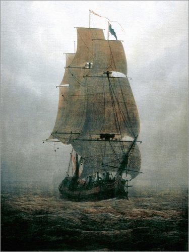 Poster 30 x 40 cm: Segelschiff im Nebel von Caspar David Friedrich - hochwertiger Kunstdruck, neues Kunstposter