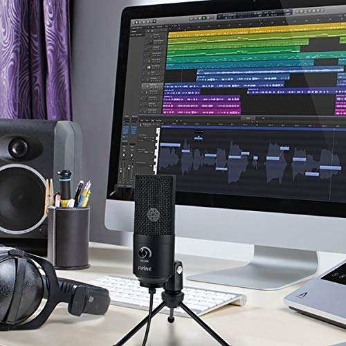 USB Microphone,Fifine Metal Condenser Recording Microphone for Laptop MAC and Windows Cardioid Studio Recording Vocals, Voice Overs,Streaming Broadcast and YouTube Videos-K669B