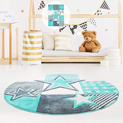 MyShop24h Kinderteppich Sternteppich Spielteppich Hochwertig mit Sternen-Muster in Pastell-Türkis mit Konturenschnitt, Glanzgarn für Kinderzimmer, Größe in cm:120 x 120 cm rund