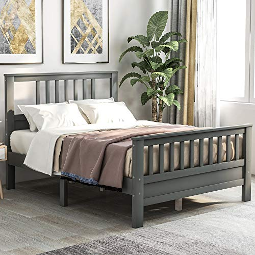 HWT Gray Wood Full Size Platform Bed Frame with Headboard Footboard Full Szie Mattress Base with Wood Slat Support, No Box Spring Needed for Home Decor (Full, Type F-Gray)