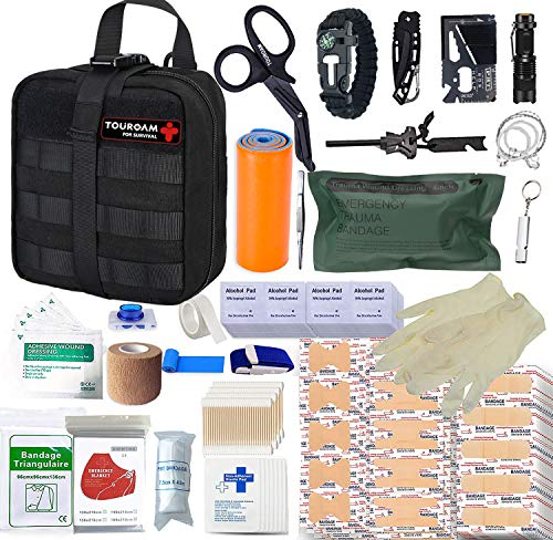 TOUROAM Kit de Primeros Auxilios de Supervivencia de 282 Piezas Sistema IFAK Molle Equipo de Exterior Compatible Kits de Emergencia Bolsa de Trauma para Acampar