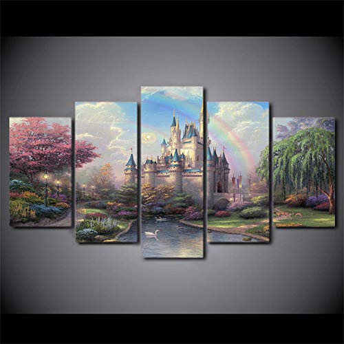 SESHA HD Impreso 5 Piezas Lienzo Arte Cuento De Hadas Castillo Thomas Paisaje Pintura Decoración De Pared(Enmarcado)
