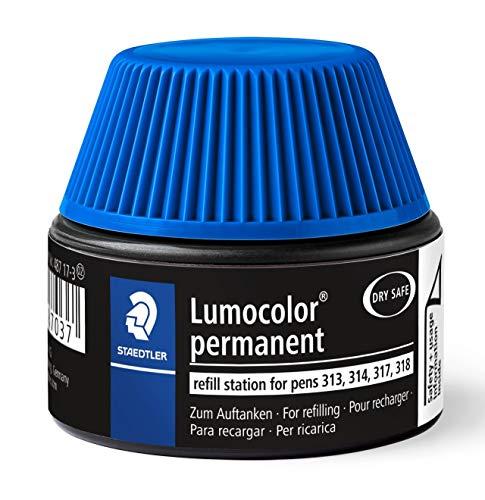 Staedtler Lumocolor 487 17-3. Cargador para marcadores Lumocolor 313, 314, 317 y 318. Un frasco con tinta de color azul.