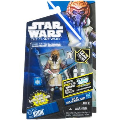 Star Wars 2011 Clone Wars Animated Action Figure CW No. 53 Plo Koon Cold Weather Gear