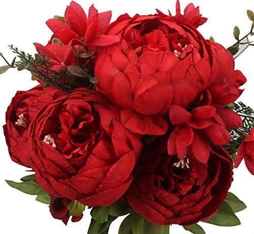 Peoxio Ramo de Peony as Artificiales . Flores de Seda para decoracin del hogar o Bodas, 1 Unidad
