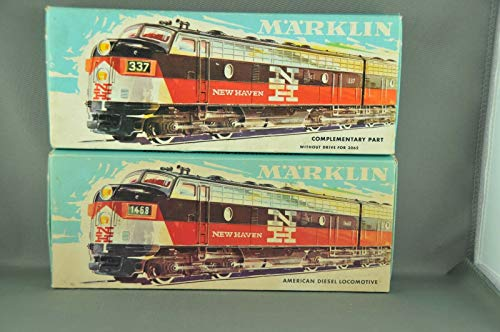 MARKLIN HO Vintage USA All Heavy Metal EMD-F7 New Haven Locomotive+Dummy 3062+4062