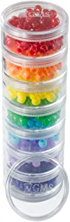 GMS 7 Stack-able Pill Organizers with 2 Lids and 7 Day Adhesive Labels for Organizing Vitamins, Supplements, and Medications (Medium Rainbow)