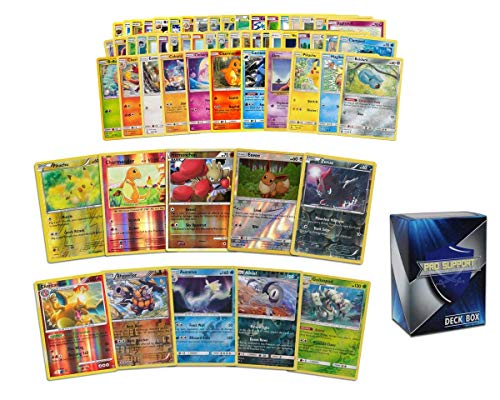 60 Pokémon Card Pack - 50 Cards Plus 5 foil Cards and 5 foil rares – Comes with a Free Pro Support Deck Box.