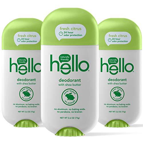 Hello Shea Butter Fresh Citrus Deodorant for Women + Men - Aluminum Free, No Baking Soda, Parabens, or Sulfates, 24 Hour Protection, 3 Count
