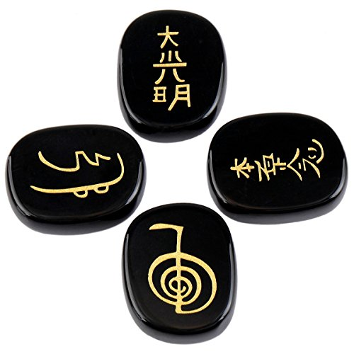 rockcloud Healing Crystal Black Agate 4pcs Engraved Chakra Stones Palm Stone Reiki Balancing