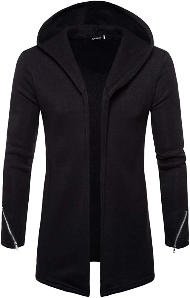 Landscap Men Splicing Hooded Trench Coat Jacket Classic Cardigan Long Sleeve Slim Fit Winter Outwear Jacket