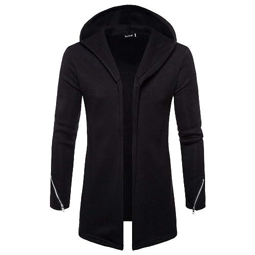 8b879ce6e9409f Forthery Men s Trench Coat with Hood Winter Long Zipper Jacket Overcoat  Cardigan