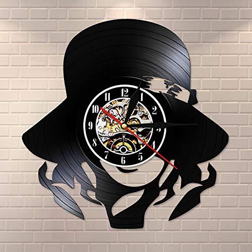 Tbqevc Moda para Mujer Reloj de Pared Decoración para el hogar Sombrero Adorno de niña Hermosa Reloj de Pared de Vinilo Hecho a Mano Regalo de Arte Retro Darle 12 Pulgadas