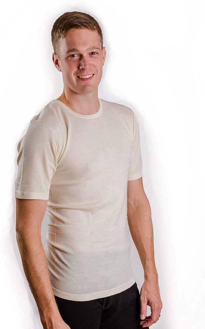 Hocosa Short-Sleeve Underwear Shirt in Organic Wool-Silk Blend Unisex Natural White