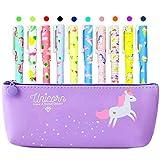 GOTH Perhk Unicornio papelería, estuche con 10 colores de bolígrafo de gel y notas adhesivas de gato, para niñas, escuela, artículos de papelería, regalo