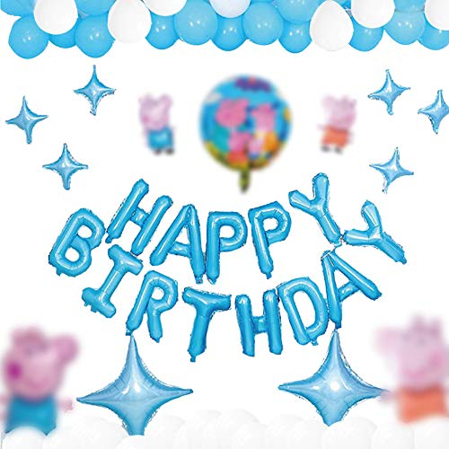 Globos de Peppa Pig,Globos para fiestas de Niños,Globos de papel de aluminio con tema,Globos Fiesta Cumpleaños Decoración, Dibujos animados Globos de latex,para Fiesta Cumpleaños Decoración