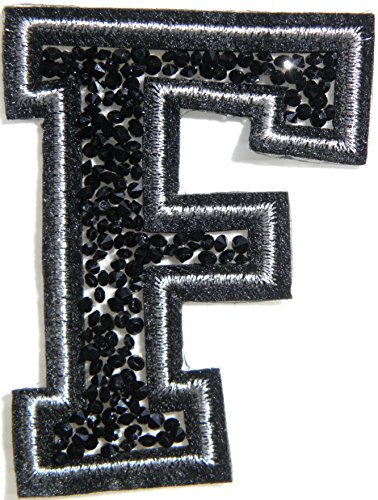 "3"" (A-Z) Black Crystal English Letter Character Alphabet Rhinestone Shiny Patch Iron on Embroidered Craft Handmade Baby Kid Girl Women Sexy Lady DIY Accessories Costume (F)"