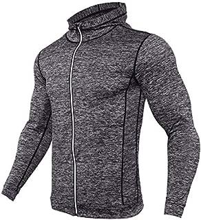 BEESCLOVER New Rashgard Hooded Running T Shirt Men Sport Shirt Men Zipper Hoody Gym T Shirt Compression Shirt Fitness Tshirt Training Tight Gray Asian XXL