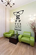 Glasses Decal, Eye Chart Decal, Wall Decal Letters, Eye Doctor Gift, Optometry Art, Dorm Decor, Hipster Wall Art, Eyewear Specs Frames