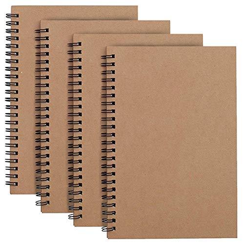 JINLE 4 Stück Skizzenbuch A4 Blanko mit Spiralbindung, Schwarzem Kraft Cover Skizzenblock 100 Blatt / 50 Weiße Säurefreies Zeichenpapie Perfekt für Reisen Memos, Malen und Graffiti
