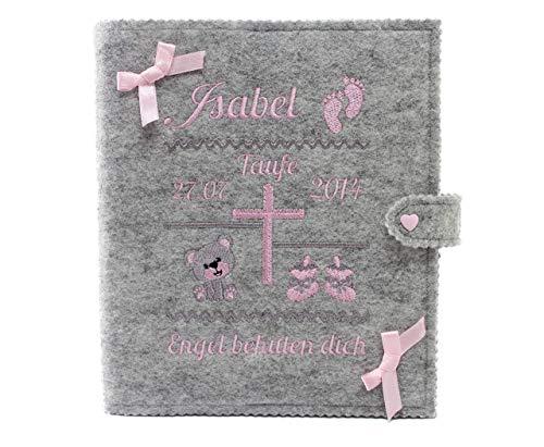 Personalisiertes Taufbuch, Taufalbum DIN A5 für Mädchen, Geschenk zur Taufe, mit 36 Innenseiten zum Ausfüllen und Platz für Fotos