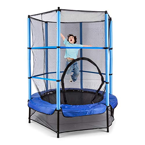 Klarfit Rocketbaby trampolino elastico per bambini piccola pedana per saltare (140 cm, rete di protezione interna, tappetino in polipropilene, corda per il Bungee, dai 3 anni d'età) - blu