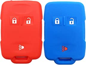 2Pcs MJKEY Blue Red Silicone Protective 3 Buttons Smart Key Fob Shell Cover Case Remote Skin Holder Keyless Entry for Chevrolet Silverado 1500 Colorado Tahoe Suburban and Gmc Sierra Yukon Canyon