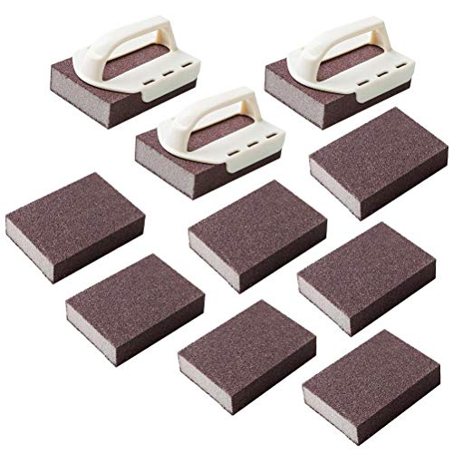 AIJIANG Esponja de limpieza Nano para eliminar el óxido, herramienta para lavar la cocina – 3 piezas mango blanco+10 esponjas – Herramientas de limpieza de cocina