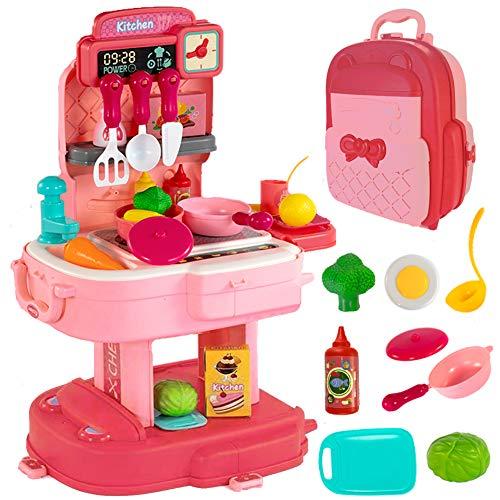 CORPER TOYS おままごと キッチンおもちゃ 2IN1 キッチンごっこ遊び キッチンセット 野菜おもちゃ 料理 食器おもちゃ 調理器具セット 女の子 男の子 室内おもちゃ おままごとセット クリスマス プレゼント 収納リュック 34PCS 8歳以上