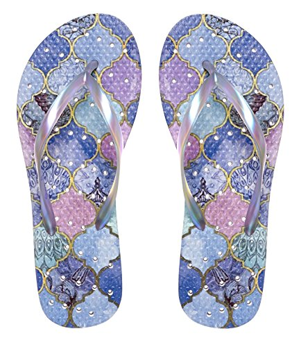 Showaflops Girls' Antimicrobial Shower & Water Sandals for Pool, Beach, Camp and Gym - Moroccan Tiles 4/5