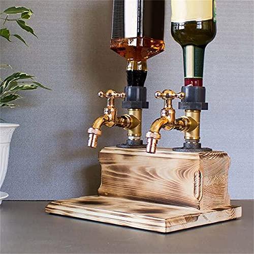 WJJCDD Dispensador de Licor para el día del Padre, dispensador de Madera con Forma de Grifo para Licor, Alcohol, Whisky, para cenas de Fiesta, Bares y Estaciones de Bebidas (B)