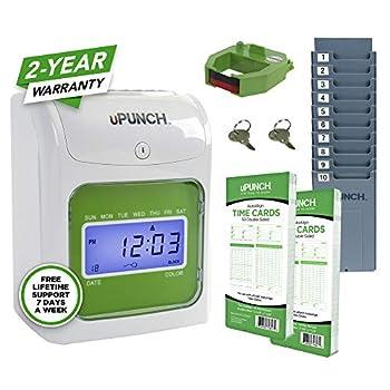 uPunch Starter Time Clock Bundle with 100-Cards 1 Time Card Rack 1 Ribbon & 2 Keys  HN1500