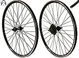 Redondo 26 Zoll Laufrad Set Hinterrad Vorderrad 26' V-Profil Hohlkammer Felge Schwarz + 7-Fach Kranz