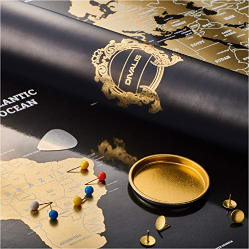 Scratch Off World Map - Extra Large - Black and Gold Scratchable World Map Poster - Best Travel...