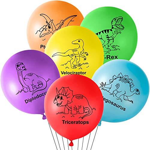 TUPARKA 36 Stück Dinosaurier Geburtstag Luftballons 12 Zoll Dinosaurier Latex Luftballons für Dinosaurier Partydekorationen