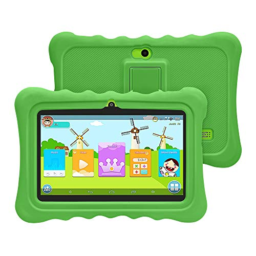 YUNTAB Tablet para Niños 7 Pulgadas Android,CPU Quad-Core 1.5GHz,1 GB RAM + 8 GB ROM,iWawa Educativos Software,Google Play y Control Parental,WiFi,Bluetooth(Verde)