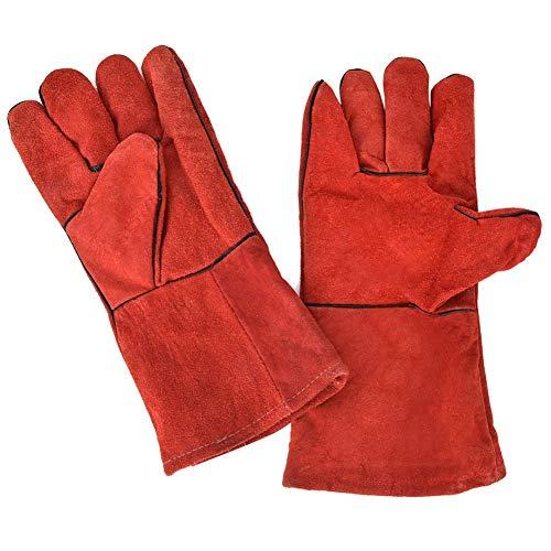 Guantes de soldadura de cuero par de Split para sitio de construcción para obra de construcción, taller de reparación[rojo] Equipo de protección personal reparación [rojo]
